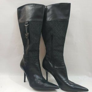 Guess Women Boots 8M Black Leather High Heels